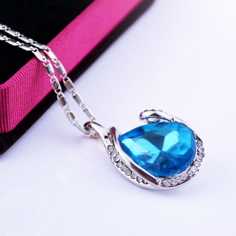 royal product necklace blue earrings crystal gemnation set ring pendant